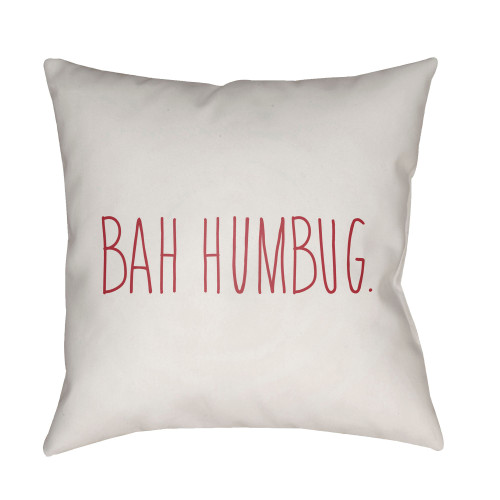 """20"""" White and Red """"Bah Humbug"""" Throw Pillow Cover - IMAGE 1"""