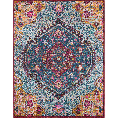 7.8' x 10.1' Traditional Style Blue and Brown Rectangular Area Throw Rug - IMAGE 1