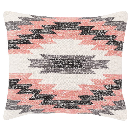 "18"" White and Black Woven Square Throw Pillow Cover - IMAGE 1"