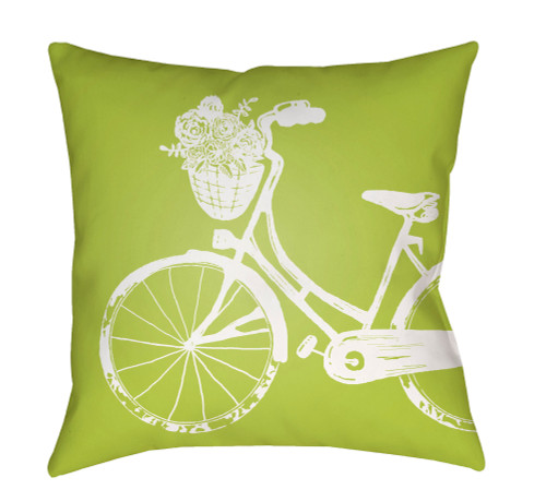 "20"" Green and White Bicycle Printed Square Throw Pillow Cover - IMAGE 1"