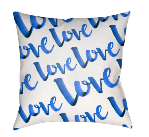 "20"" White and Ink Blue ""Love"" Printed Square Throw Pillow Cover - IMAGE 1"