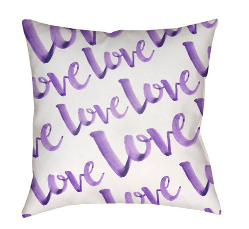 """20"""" White and Purple """"Love"""" Printed Square Throw Pillow Cover - IMAGE 1"""
