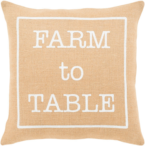 "18"" Beige and White ""Farm to Table"" Throw Pillow - Down Filler - IMAGE 1"