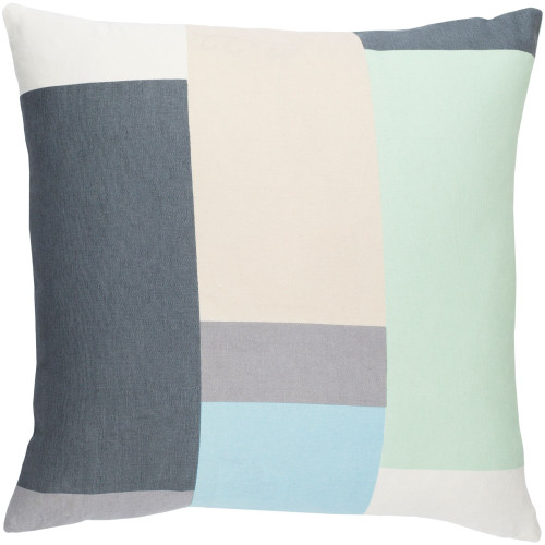 """20"""" Mint Green and Charcoal Gray Geometric Square Throw Pillow - Poly Filled - IMAGE 1"""