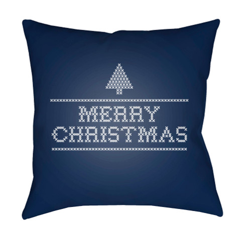 """18"""" Blue and White """"Merry Christmas"""" Throw Pillow Cover with Knife Edge - IMAGE 1"""