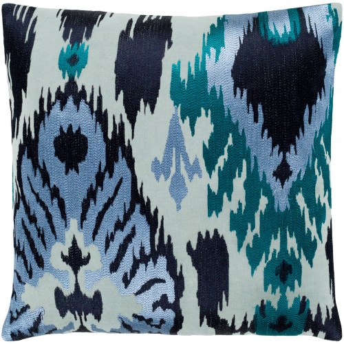 """18"""" Blue Embroidered Square Throw Pillow with Knife Edge - Poly Filled - IMAGE 1"""