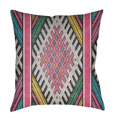 """20"""" Pink and Green Geometric Printed Square Throw Pillow Cover - IMAGE 1"""
