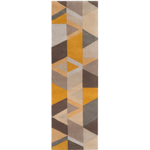 """2'6"""" x 8' Patched Geometric Design Yellow and Brown Hand Tufted Wool Area Throw Rug Runner - IMAGE 1"""