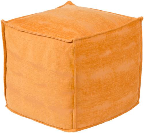 "18"" Orange Square Pouf Ottoman - IMAGE 1"