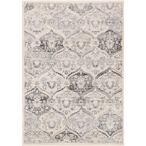 7.8' x 10' Traditional Style Cream White and Black Rectangular Area Throw Rug - IMAGE 1