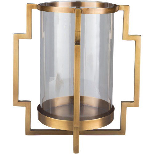 """15.75"""" Gold Colored Modern Design Style Cylindrical Glass Candle Holder - IMAGE 1"""