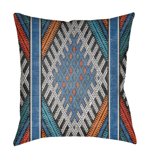 """20"""" Blue and Orange Geometric Printed Square Throw Pillow Cover - IMAGE 1"""
