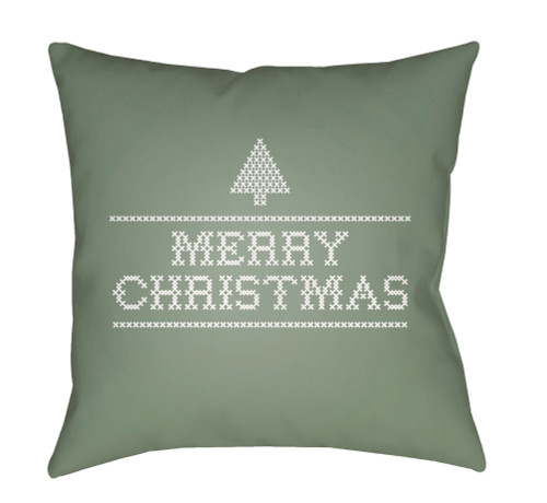 """18"""" Green and White """"Merry Christmas"""" Throw Pillow Cover with Knife Edge - IMAGE 1"""