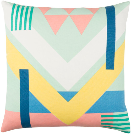 """20"""" Mint Green and Pale Pink Geometric Square Throw Pillow - Poly Filled - IMAGE 1"""