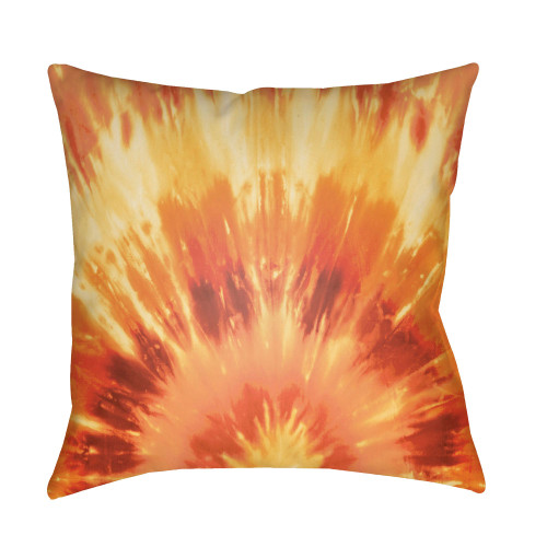 "22"" Orange and Yellow Square Throw Pillow Cover with Knife Edge - IMAGE 1"