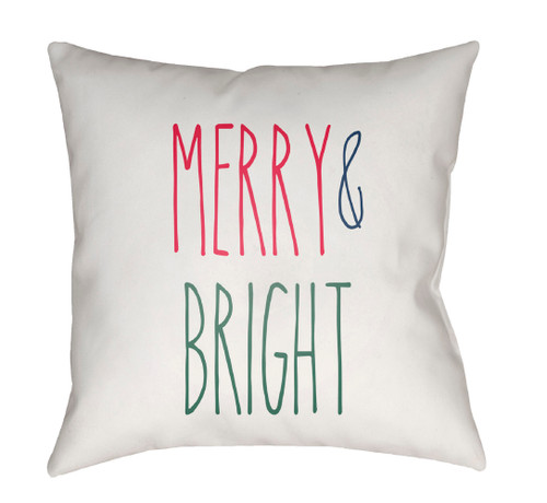 """18"""" White """"Merry and Bright"""" Square Throw Pillow Cover - IMAGE 1"""