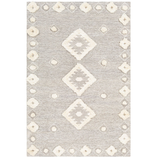 3' x 5' Diamond Patterned Brown and Cream Rectangular Hand Tufted Area Rug - IMAGE 1