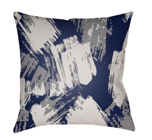 """22"""" Gray and Denim Blue Abstract Patterned Square Throw Pillow Cover - IMAGE 1"""