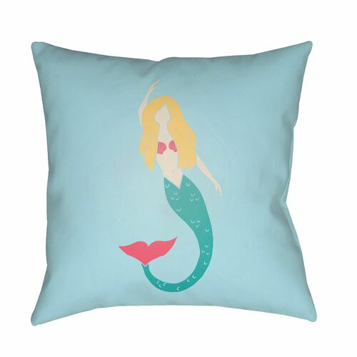 """18"""" Sky Blue and Green Mermaid Printed Square Throw Pillow Cover - IMAGE 1"""