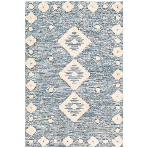 3' x 5'  Diamond Patterned Blue and Cream Rectangular Hand Tufted Area Rug - IMAGE 1