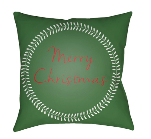 """18"""" Green and Red """"Merry Christmas"""" Square Throw Pillow Cover - IMAGE 1"""
