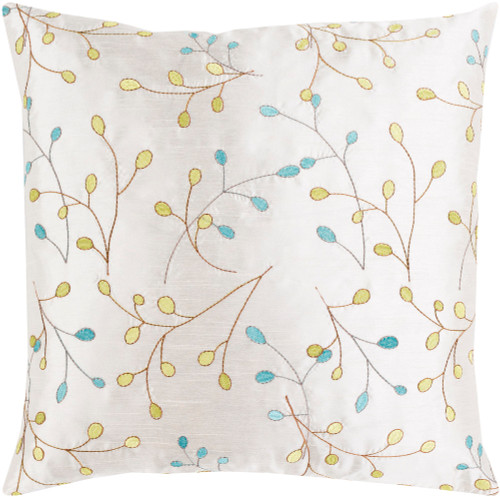 """18"""" White with Embroidered Leaves Woven Square Throw Pillow - Down Filler - IMAGE 1"""
