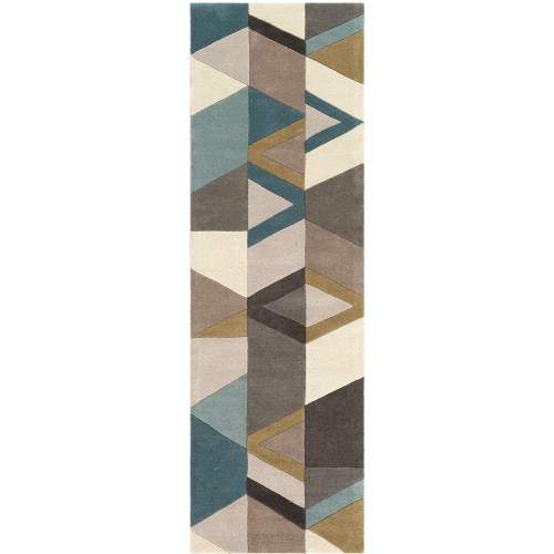 """2'6"""" x 8' Patched Geometric Pattern Taupe and Blue Hand Tufted Wool Area Throw Rug Runner - IMAGE 1"""