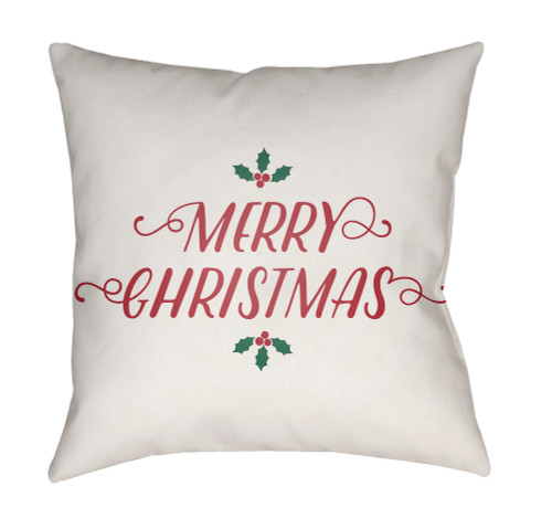 """18"""" White and Red """"Merry Christmas"""" Square Throw Pillow Cover - IMAGE 1"""