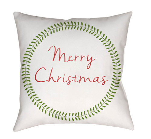 """18"""" White and Green """"Merry Christmas"""" Square Throw Pillow Cover - IMAGE 1"""
