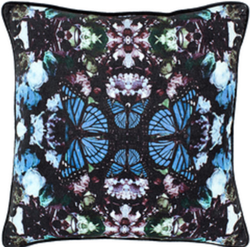 """18"""" Blue and Black Butterfly Printed Square Throw Pillow - Down Filled - IMAGE 1"""