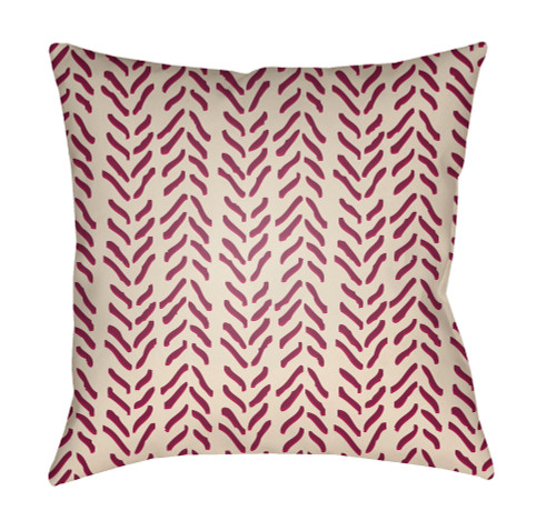 """22"""" Berry Red and Beige Printed Square Throw Pillow Cover - IMAGE 1"""