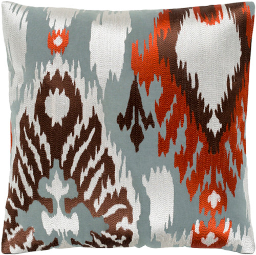 "18"" Brown and Gray Embroidered Square Throw Pillow - Poly Filled - IMAGE 1"