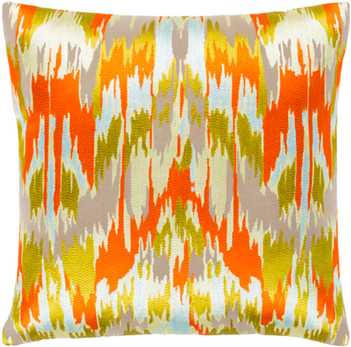 """18"""" Orange and Corn Yellow Embroidered Square Throw Pillow - Poly Filled - IMAGE 1"""