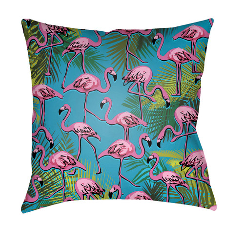 """20"""" Teal Blue and Pink Square Throw Pillow Cover with Knife Edge - IMAGE 1"""