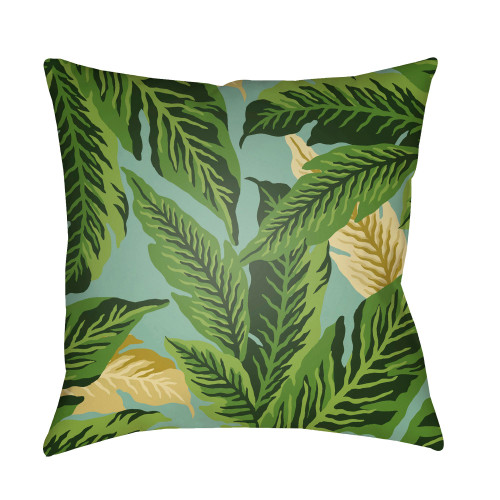"""22"""" Green and Lime Yellow Leaf Square Throw Pillow Cover - IMAGE 1"""