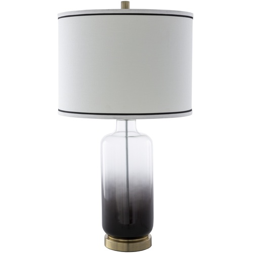 """28.5"""" White and Black Natural Glass Body Table Lamp - IMAGE 1"""