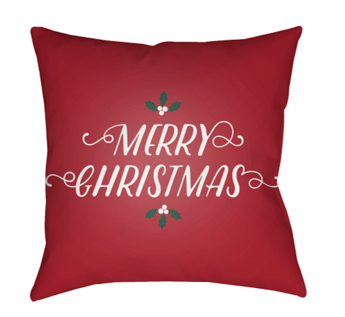 """18"""" Cherry Red and White """"Merry Christmas"""" Square Throw Pillow Cover - IMAGE 1"""