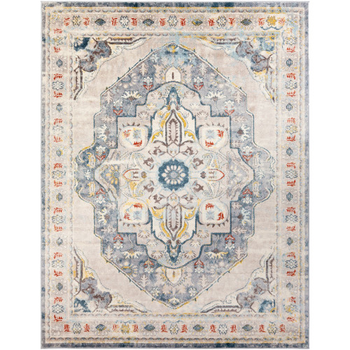 """6'7"""" x 9' Floral Persian Medallion Beige and Blue Rectangular Area Throw Rug - IMAGE 1"""