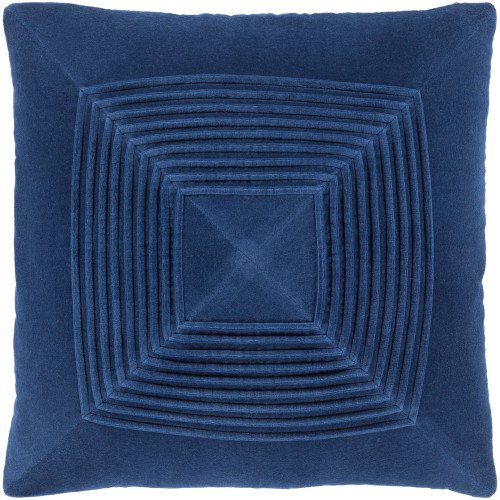 """22"""" Navy Blue Pleated Square Throw Pillow with Knife Edge - Down Filler - IMAGE 1"""