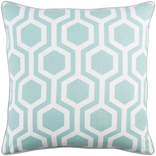 """18"""" Aqua Blue and White Hexagonal Pattern Square Woven Throw Pillow - Poly Filled - IMAGE 1"""