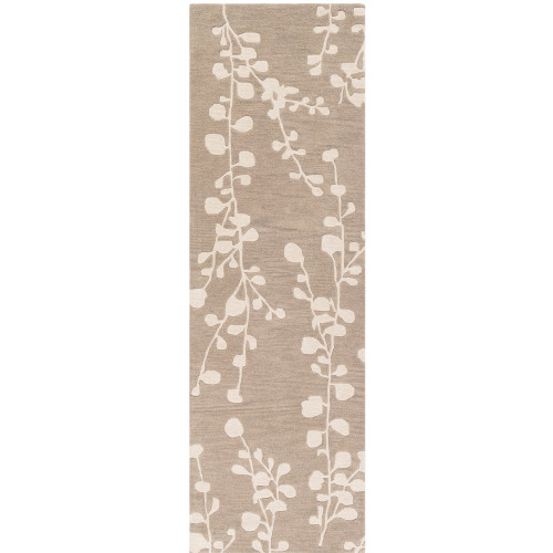 """2'6"""" x 8' Floral Patterned Taupe Brown and Ivory Hand Tufted Wool Area Throw Rug Runner - IMAGE 1"""
