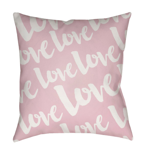 """18"""" White"""" Love"""" Printed Design Light Pink Square Woven Throw Pillow Cover with Knife Edge - IMAGE 1"""