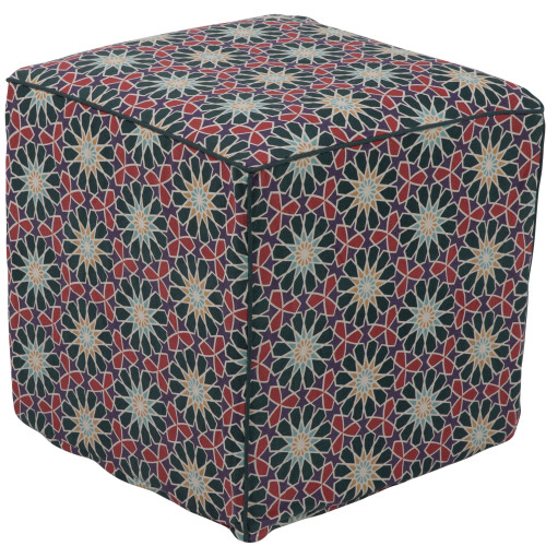 """18"""" Dark Green and Red Floral Patterned Cotton Square Pouf Ottoman - IMAGE 1"""