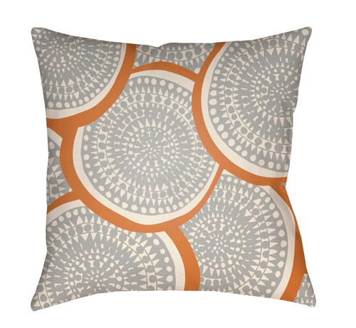 "26"" Gray and Orange Circular Aboriginal Patterned Square Throw Pillow Cover - IMAGE 1"