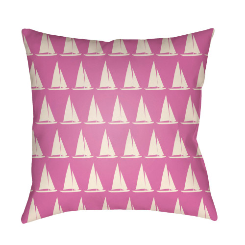 """26"""" Pink and White Yacht Printed Square Throw Pillow Cover - IMAGE 1"""