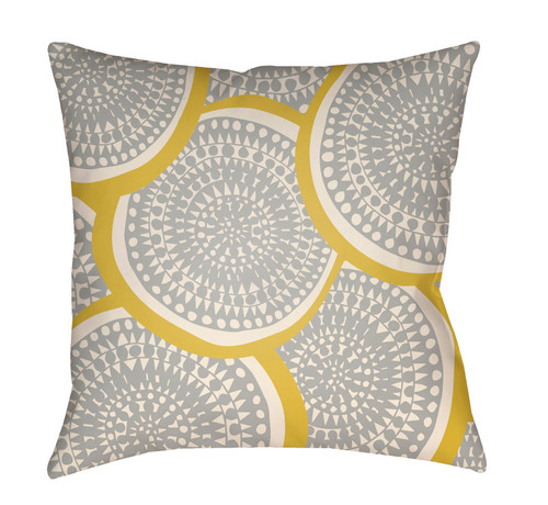 "26"" Gray and Yellow Circular Aboriginal Patterned Square Throw Pillow Cover - IMAGE 1"