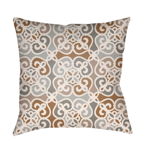 """20"""" Beige Square Geometric Throw Pillow Cover with Knife Edge - IMAGE 1"""