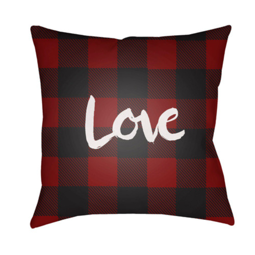 "18"" Red and Black Checkered Pattern with ""Love"" Printed Design Throw Pillow Cover on Knife Edge - IMAGE 1"