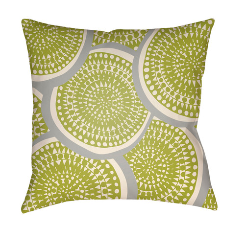 "26"" Green and Gray Circular Aboriginal Patterned Square Throw Pillow Cover - IMAGE 1"