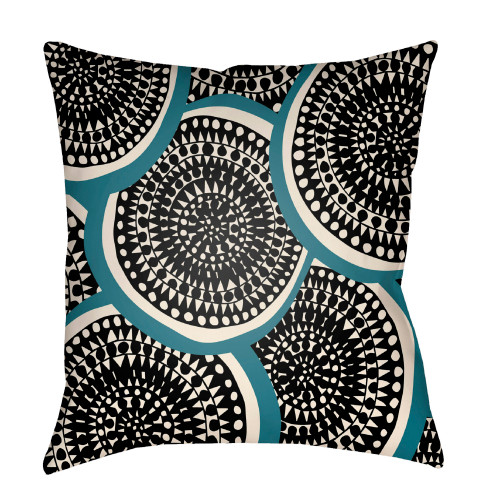 """26"""" Black and Blue Circular Aboriginal Patterned Square Throw Pillow Cover - IMAGE 1"""